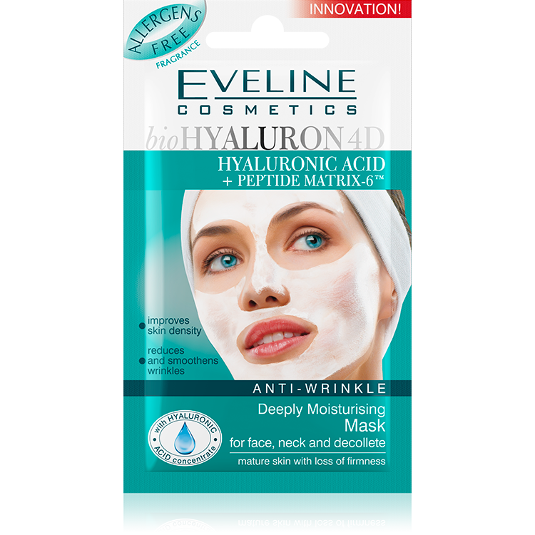 Anti-wrinkle deeply moisturising mask for face, neck and decollete