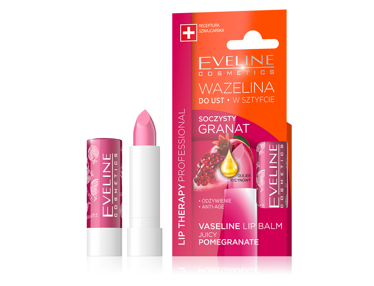 Juicy Pomegranate Vaseline Lipstick Balm Eveline Cosmetics Lip Therapy Rosy Lips Fruity Stick Intensely Cares And Greases Delicate Skin Eliminating Any Irritation Overdryness Roughness